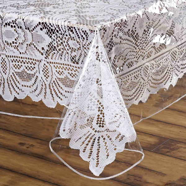 "54"" x 54"" Clear 10 Mil Thick Eco-friendly Vinyl Waterproof Tablecloth PVC Square Disposable Tablecloth"