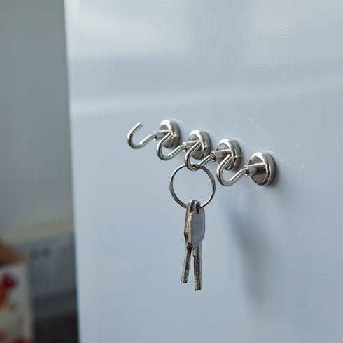 Pack of 4 | 4.5Lb Capacity Silver Heavy Duty Magnetic Hooks, Multipurpose Hanging Metal Hooks