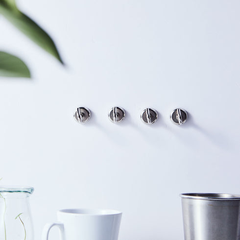 Pack of 4 | 3.5Lb Capacity Silver Heavy Duty Magnetic Hooks, Multipurpose Hanging Metal Hooks
