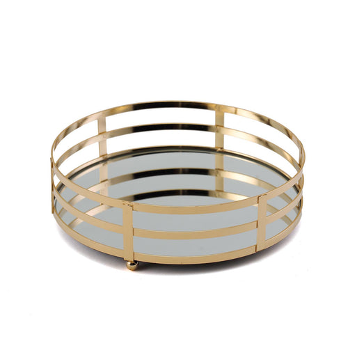 "Set of 2 - Gold Metal Decorative Serving Trays - Round Mirrored Vanity Trays - 13"" - 9"""