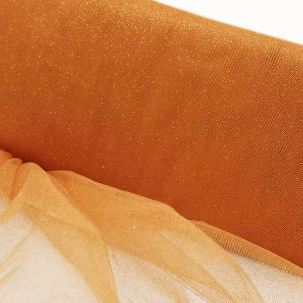 "54"" x 15 Yards Orange Princess Glitter Tulle Bolt"
