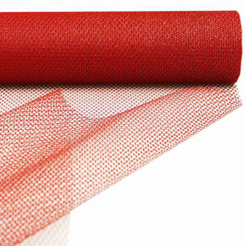 "EXQUISITE Stardusted Waffle Tulle Bolt 19"" x 10yards - Red"