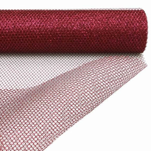 "EXQUISITE Stardusted Waffle Tulle Bolt 19"" x 10yards - Wine"