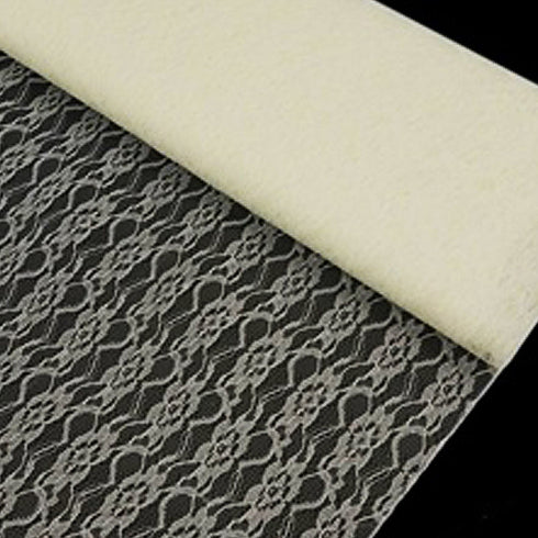 "Fleur Soft Sheer Lace Fabric Ivory 60"" x 10yards"