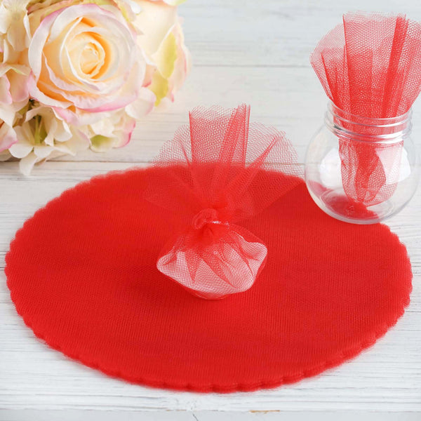 "9"" - 25 Pcs Red Scalloped Tulle Circles - Sheer Nylon Fabric"