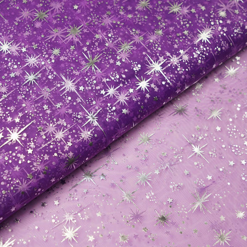 "Organza Tulle Fabric Drapes Bolt With Hot Foil Stamped Star Design - Purple - 54""x15 Yards"