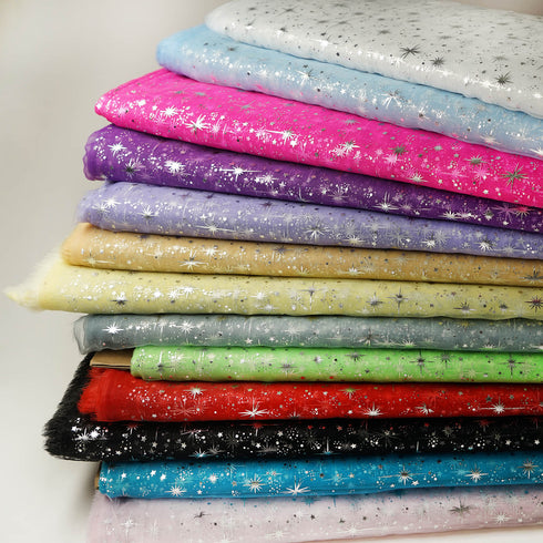 "Organza Tulle Fabric Drapes Bolt With Hot Foil Stamped Star Design - Turquoise - 54""x15 Yards"