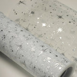 "6""x10 Yards White Organza Tulle Fabric Bolt With Hot Foil Stamped Star Design"