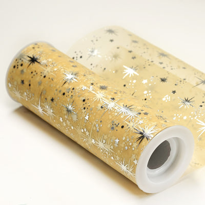"6""x10 Yards Gold Organza Tulle Fabric Bolt With Hot Foil Stamped Star Design"