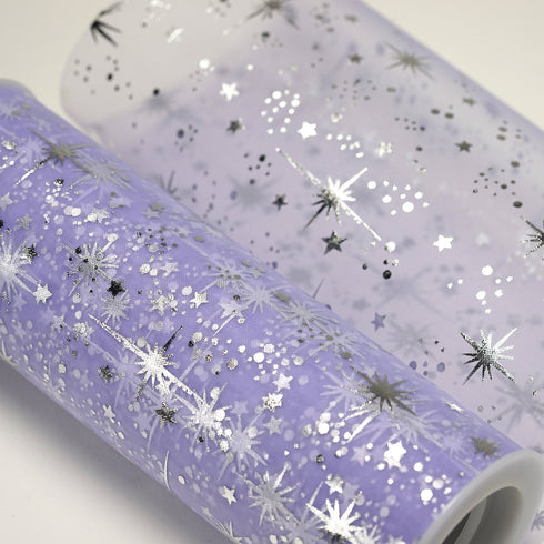 "6""x10 Yards Lavender Organza Tulle Fabric Bolt With Hot Foil Stamped Star Design"