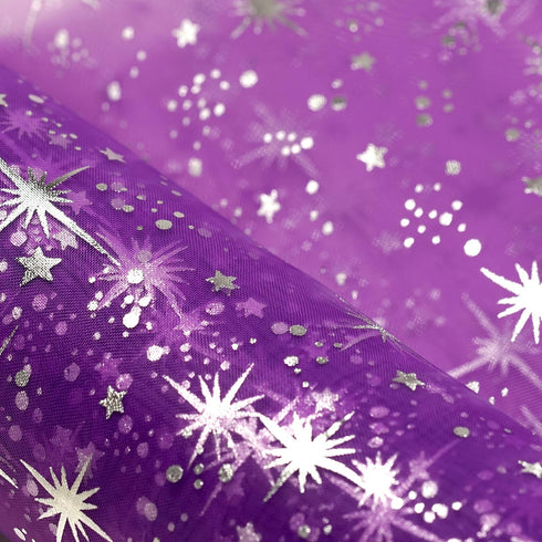 "6""x10 Yards Purple Organza Tulle Fabric Bolt With Hot Foil Stamped Star Design"
