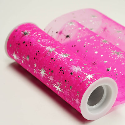 "6""x10 Yards Fushia Organza Tulle Fabric Bolt With Hot Foil Stamped Star Design"