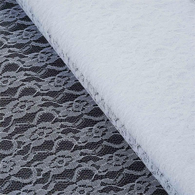 "Floral Shimmer Lace Glitter Tulle Fabric Roll-White- 54""X15 YARDS"