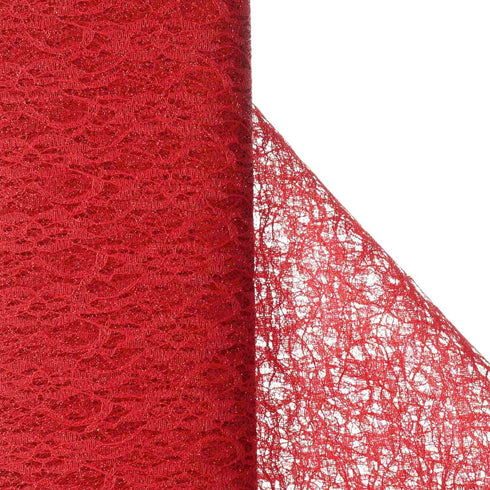 "Floral Shimmer Lace Glitter Tulle Fabric Roll-Red- 54""X15 YARDS"