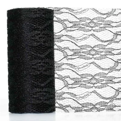 "Floral Shimmer Lace Glitter Tulle Fabric Roll-Black- 6""X10 YARDS"
