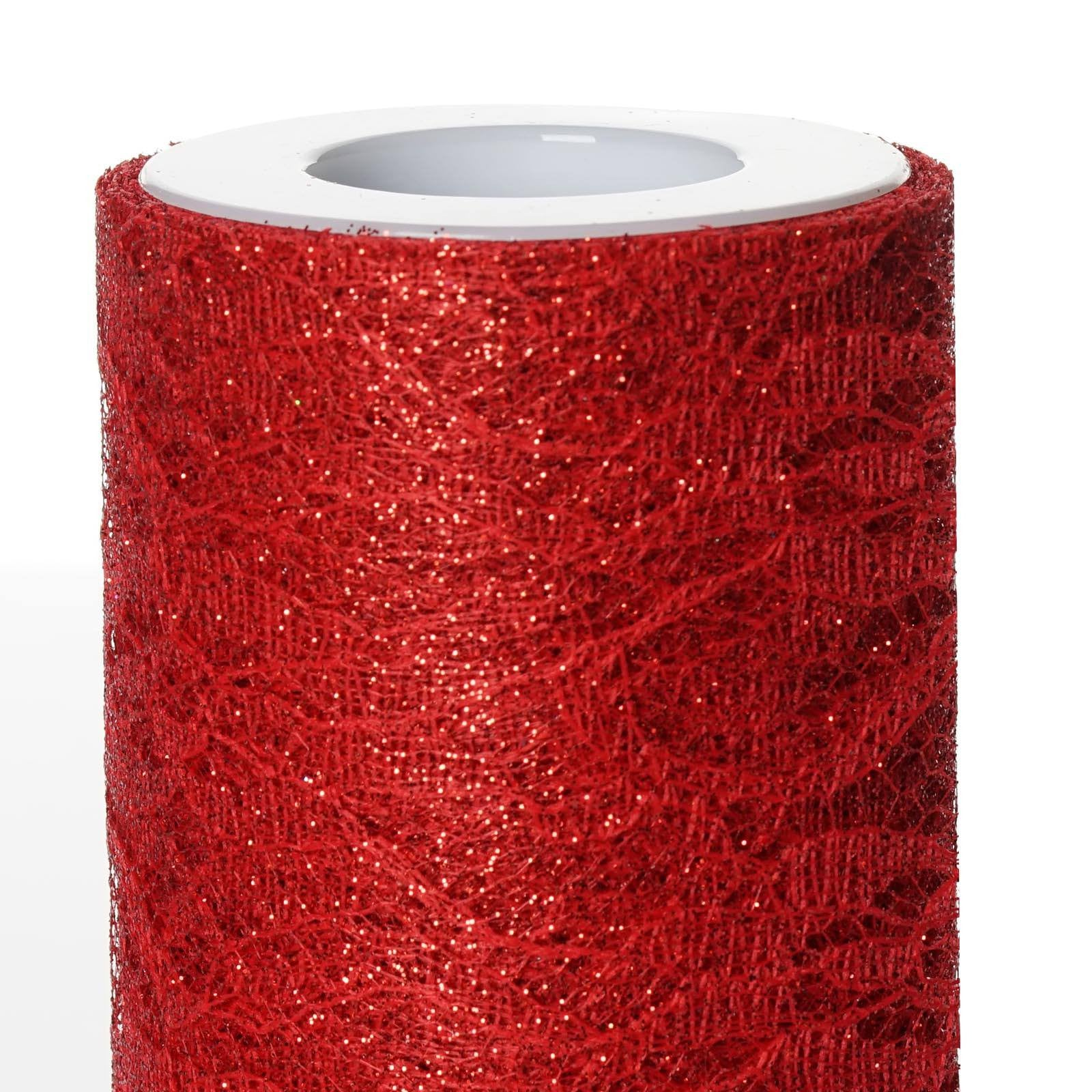 "100 Yards Tulle Wedding Backdrop Wedding Decoration 15cm: 6""X10 Yards Red Floral Lace Glitter Tulle Fabric Roll"