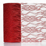 "Floral Shimmer Lace Glitter Tulle Fabric Roll-Red- 6""X10 YARDS"