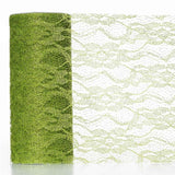 "Floral Shimmer Lace Glitter Tulle Fabric Roll-Tea Green- 6""X10 YARDS"