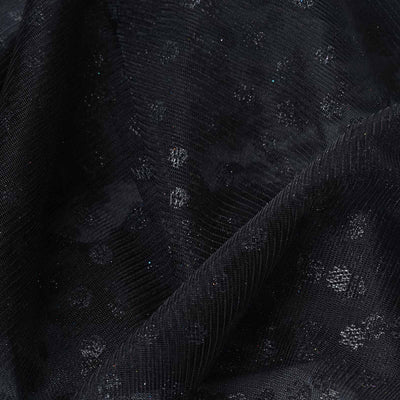 "Glittered Polka Dot Tulle Fabric - Black - 54"" x 15 Yards"