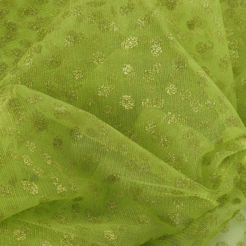"Glittered Polka Dot Tulle Fabric - Apple Green - 54"" x 15 Yards"