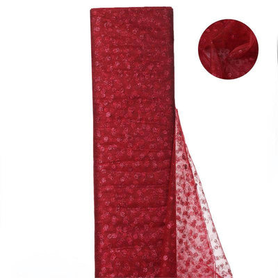 "Glittered Polka Dot Tulle Fabric - Burgundy - 54"" x 15 Yards"