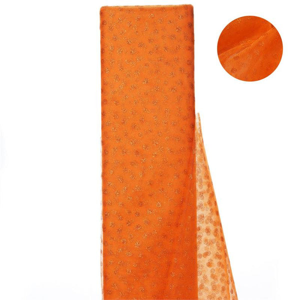 "54""x15 Yards Orange Glitter Polka Dot Tulle Fabric Bolts"