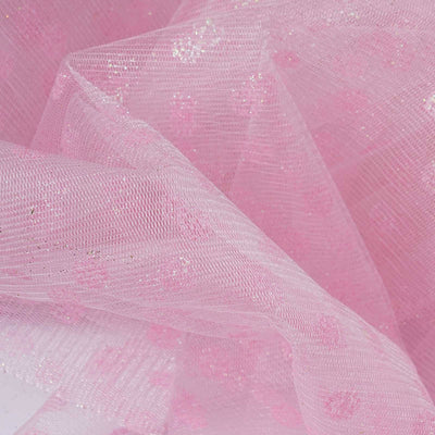 "Glittered Polka Dot Tulle Fabric - Pink - 54"" x 15 Yards"