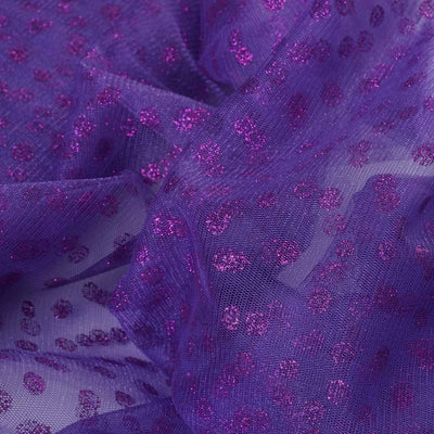 "Glittered Polka Dot Tulle Fabric - Purple - 54"" x 15 Yards"