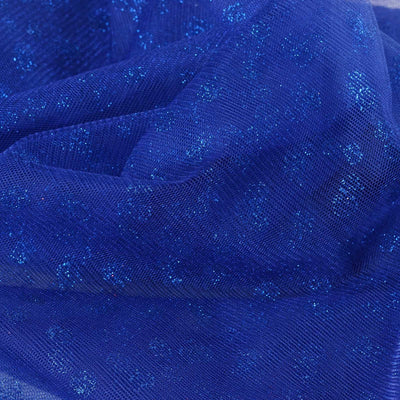 "Glittered Polka Dot Tulle Fabric - Royal Blue - 54"" x 15 Yards"