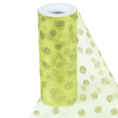 "Glittered Polka Dots Tulle - Apple Green- 6""x10 Yards"