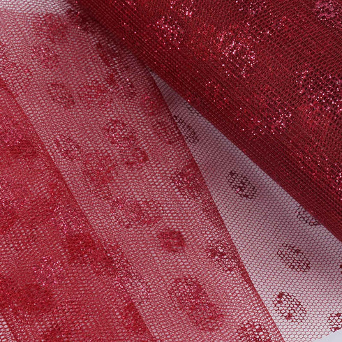 "Glittered Polka Dots Tulle - Burgundy- 6""x10 Yards"