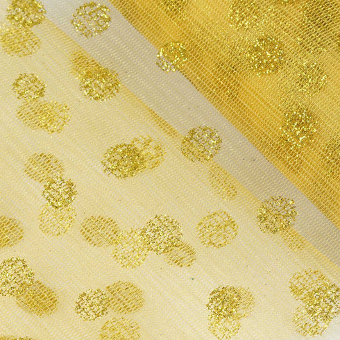"Glittered Polka Dots Tulle - Gold- 6""x10 Yards"