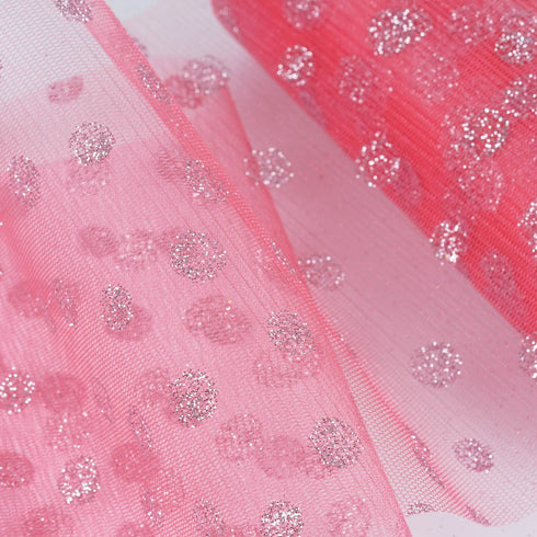 "Glittered Polka Dots Tulle - Rose Quartz- 6""x10 Yards"