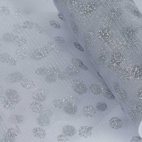 "Glittered Polka Dots Tulle - Silver- 6""x10 Yards"