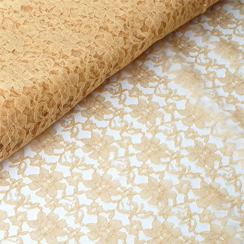 "Beguiling Blossomy Lace Fabric Bolt -Gold- 54""x15 YARDS"