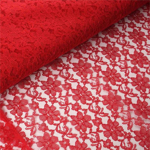 "Beguiling Blossomy Lace Fabric Bolt -Red- 54""x15 YARDS"
