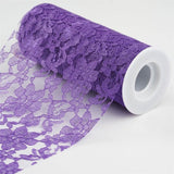 "Festive Floral Lace Fabric Roll, color- Purple- 6""X10 YARDS"