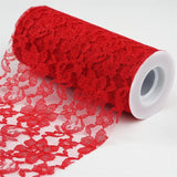 "Festive Floral Lace Fabric Rolls, color-Red- 6""X10 YARDS"