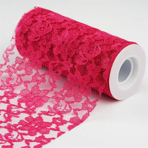 "Festive Floral Lace Fabric Roll, color- Fushia- 6""X10 YARDS"