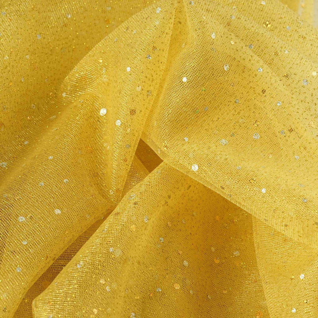 Sparkly sequin dot sheer tulle fabric gold 54 x15yards for Sparkly fabric