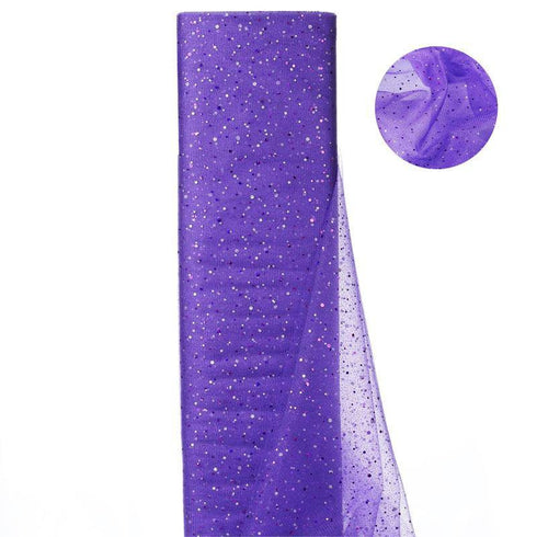 "Sparkly Sequin Dot Sheer Tulle Fabric - Purple- 54""x15 Yards"