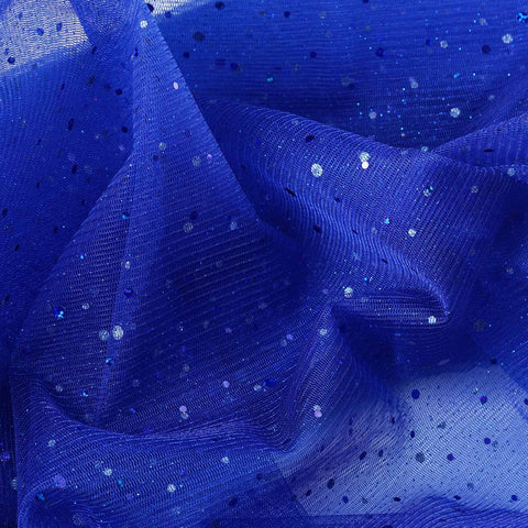 sparkly sequin dot sheer tulle fabric royal blue 54x15