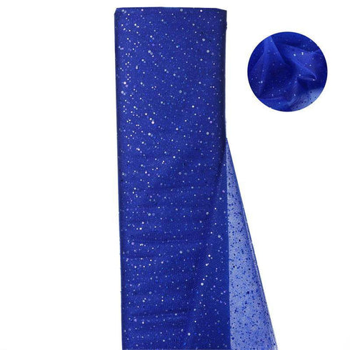 "Sparkly Sequin Dot Sheer Tulle Fabric - Royal Blue- 54""x15 Yards"
