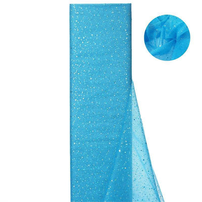 "Sparkly Sequin Dot Sheer Tulle Fabric - Turquoise- 54""x15 Yards"