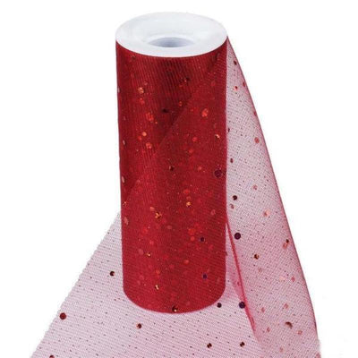 "Sparkly Sequin Dot Sheer Tulle Fabric - Burgundy- 6""x10 Yard"
