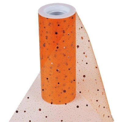 "Sparkly Sequin Dot Sheer Tulle Fabric - Orange- 6""x10 Yard"