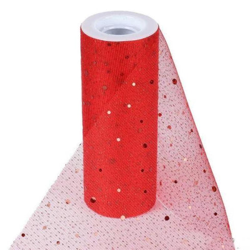 "Sparkly Sequin Dot Sheer Tulle Fabric - Red- 6""x10 Yard"