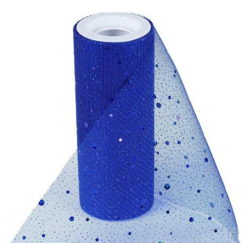 "Sparkly Sequin Dot Sheer Tulle Fabric - Royal Blue- 6""x10 Yard"