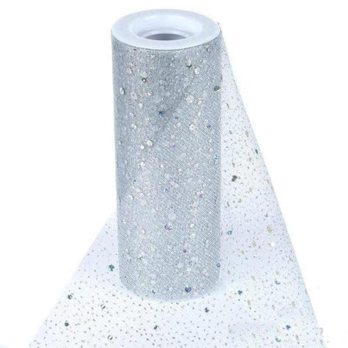 "Sparkly Sequin Dot Sheer Tulle Fabric - Silver- 6""x10 Yard"