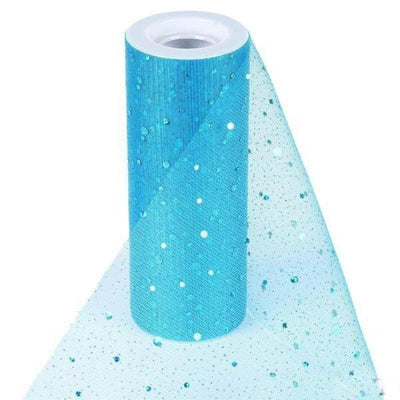 "Sparkly Sequin Dot Sheer Tulle Fabric - Turquoise- 6""x10 Yard"